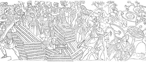 Dessin de la colonne trajane montrant un frondeur des Baléares Source : Dessin de Payraud, publié par Salomon Reinach, Répertoire de Reliefs grecs et romains, tome I, p.348 (1919)